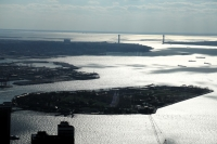 Governor's Island and the Verrazano Narrows Bridge from One World Trade Center