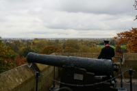 Cannon and tour guide at Windsor Castle
